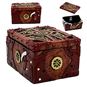 Ebros Steampunk Mechanical Gears Clockwork Decorative Box Figurine 5″ L Science Fiction Time Waits for No Man Jewelry Box