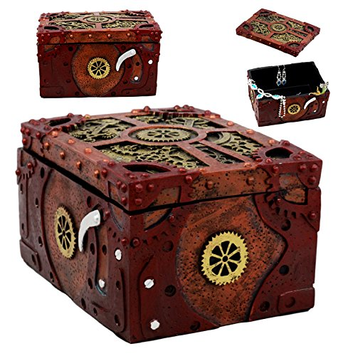 "Ebros Steampunk Mechanical Gears Clockwork Decorative Box Figurine 5"" L Science Fiction Time Waits for No Man Jewelry Box 3"