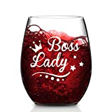 Bosses Day Gift - Boss Lady Stemless Wine Glass, Novelty Boss Wine Glass for Women Mother Lover Sister Friend Coworker, Office Gift Idea for Christmas Birthday Bosses Day Leaving Retirement, 15 Oz
