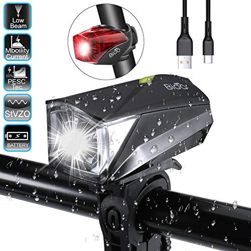 BIGO Fahrradlichter Set, LED Fahrradbeleuchtung StVZO Zugelassen USB Wiederaufladbare Wasserdicht Fahrradlampe Frontlicht/Rücklicht für Radfahren