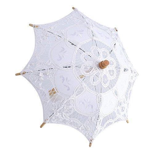 Hochzeits-Spitze-Regenschirm, Sonnenschirm Sun-Regenschirm-modernes Mädchen-Regen-Regenschirm-Foto, das Dekoration macht(Weiß S Größe)