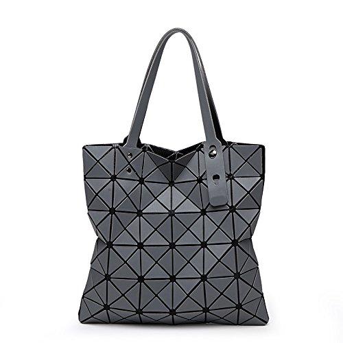 QXbecky Bolso geométrico mate cepillado rómbico japonés Variedad hombro plegado Rubik's Cube bag bolsos bolsos chicas light bag gris claro 33x33cm