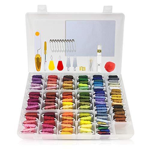 Sticktwist Kreuzstichgarne, 110 Farben, Stickgarn mit Organizer Aufbewahrungsbox und 50 Stück Kreuzstichwerkzeuge