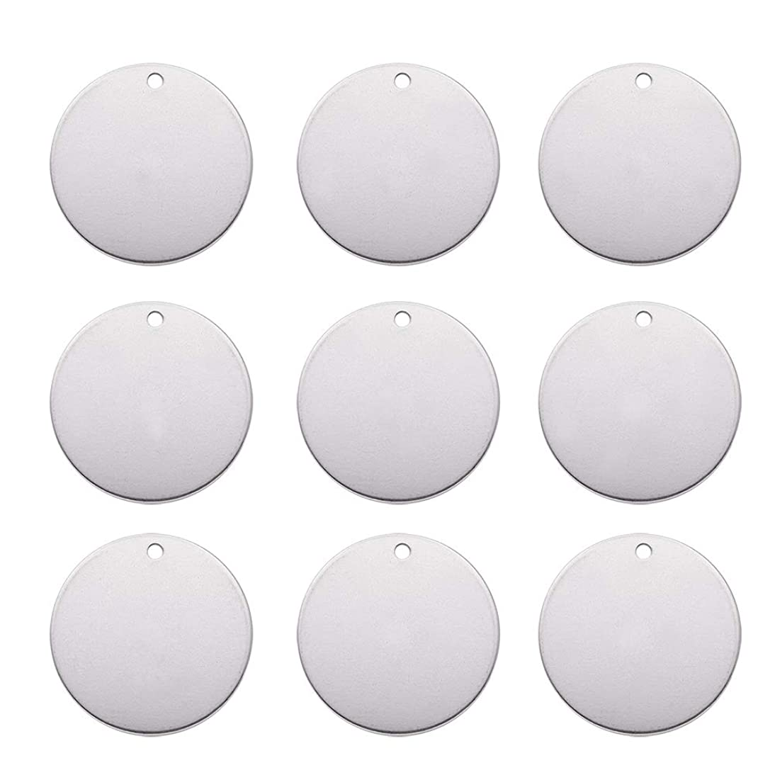 Pandahall 10pcs Stainless Steel Blank Stamping Tag Pendants Flat Round 1-1/5 Inch Unfading Tag Charms for Jewelry Making