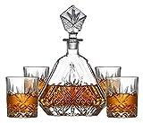 NIANXINN Decantador de Whisky y Gafas, Gafas, Cristal, sólido y establo, con Caja de Regalo, para Whisky Vino Tinto Vino decantador 5 Piezas Decantador de Whisky