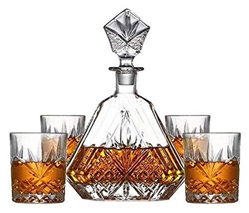 AMDHZ Decantador de Whisky y Gafas, Gafas, Cristal, sólido y establo, con Caja de Regalo, para Whisky Vino Tinto Vino decantador 5 Piezas Decantador de Whisky