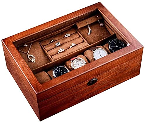 Caja de reloj de la caja de la joyería, Caja de reloj de 6 ranuras, Caja de reloj de madera con tapa de cristal, Organizador de reloj de la caja de exhibición