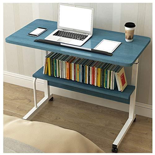 WERTYG Escritorio para portátil portátil, sobrecama con ruedas, portátil, multifuncional, con ruedas, para cama, sofá, mesa plegable (color: azul arce, tamaño: 80 x 40 cm)