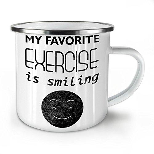 Wellcoda Lächelnd Positiv Komisch Emaille-Becher, Lächelnd - 10 Unzen-Tasse - Kräftiger, griffiger Griff, Zweiseitiger Druck, Ideal für Camping und Outdoor