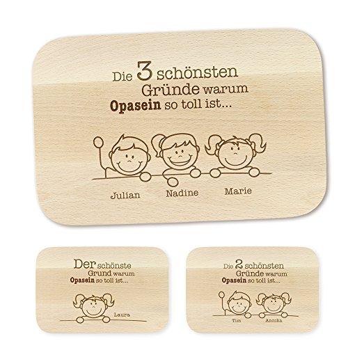 Crazy Kitchen Casa Vivente Frühstücksbrettchen mit Gravur – Schönste Gründe für Opa – Personalisiert mit Namen – Brettchen aus Ahornholz – Geschenkidee für Männer zum Geburtstag – Vatertagsgeschenk