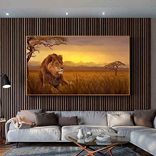 wZUN Póster Lienzo Pintura Animal Paisaje Impresiones Imagen león Abstracto Arte de la Pared Imagen para la decoración del hogar de la Sala de Estar 60x100 Sin Marco