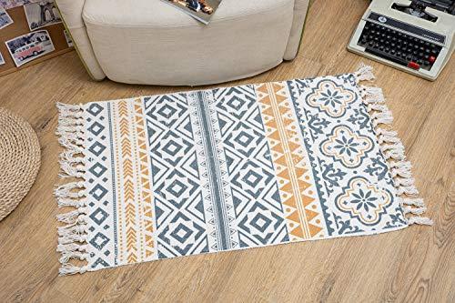 Böhmische Bereich Teppich, 2 x 3 ft Baumwolle Boho Teppich mit Quaste Teppich Vintage Waschbar Teppiche für Küche Boden Wohnzimmer Waschküche
