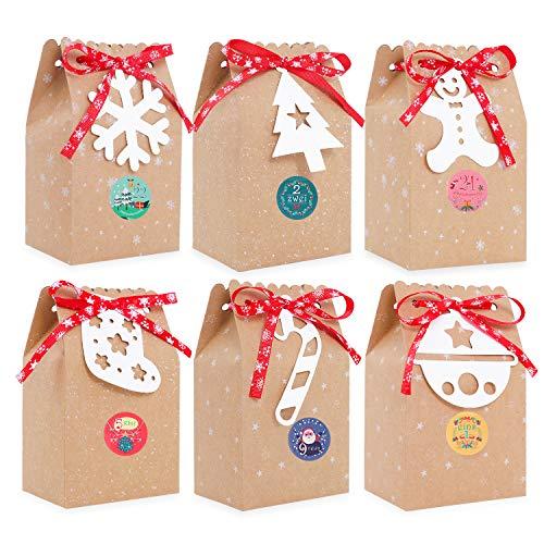 Ulikey Geschenktüten mit Griff Kraftpapier, 24 Kraftpapiertüten Braun mit Adventskalender Zahlen + Anhänger, DIY Weihnachts Geschenkbox Weihnachten Papier Beutel Papiertüten (Color 1)