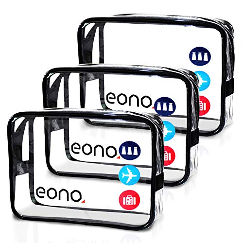 Amazon Brand - Eono Bolsas de Aseo Transparente Neceser Avion Unisexo Neceseres de Viaje Bolsa de Cosmético Neceser PVC Impermeable Organizador de Viaje - Transparent, 3-Pcs