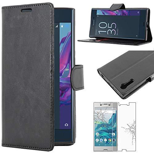 ebestStar - Coque Compatible avec Sony Xperia XZ, XZ Dual Etui PU Cuir Housse Portefeuille Porte-Cartes Support Stand, Noir + Film Verre Trempé [NB: Lire Description][Appareil: 146x72x8.1mm, 5.2'']