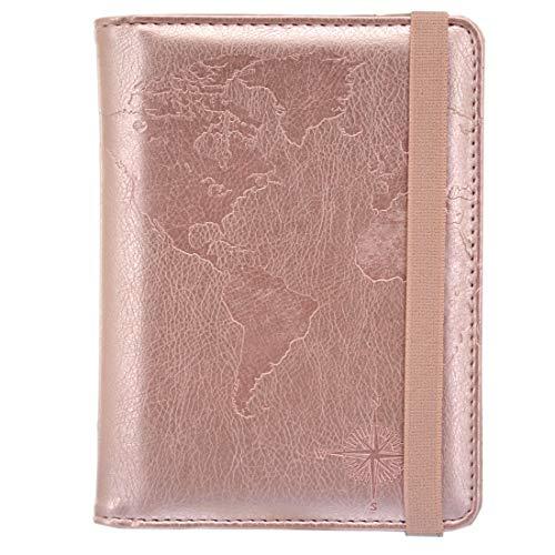 Kandouren RFID Passport Holder Cover Case,Travel Accessories for Women & Girl,Passport Wallet(rose gold world)