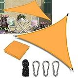 Gohytal Toldo triangular de poliéster, protección solar para balcón y terraza, con protección UV, protección contra el viento para acampadas/jardín
