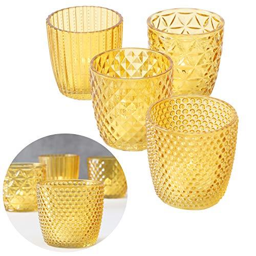 LS-LebenStil 4x Glas Teelichthalter Retro Gelb 7cm Windlicht-Halter Kerzenständer