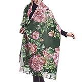 Bufanda con Flecos, Tapiz, Manta, Accesorios de Vestidos, patrón de peonía Pintado a Mano, Bufandas largas Grandes y cálidas, Estola de mantón de Pashmina