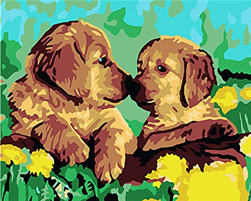 KSKD Peinture par Nombre Kits Avec Brosses et Peintures pour Adultes Enfants Seniors Junior Débutant Acryliques sur Canevas Baiser un chien animal- 16x20 pouces sans cadre