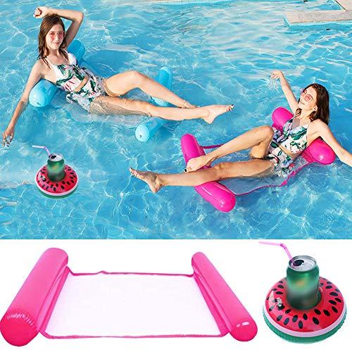 ENYACOS Cama flotante hinchable con soporte para bebidas inflable, cama flotante plegable...