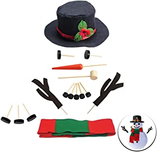 winemana Snowman Decorating Kit Snowman Dressing Making Kit for Winter Christmas Outdoor Snowman Decoration, 16 Pcs