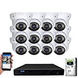 GW Security 16 Channel 4K NVR 5MP H.265 IP Surveillance Security Camera System with 12-Piece Super HD 1920P Weatherproof PoE Security Dome Cameras, AI Human Detection