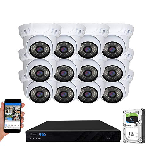 GW Security 16 Channel 4K NVR 5MP H.265 IP Surveillance Security Camera System with 12-Piece Super HD 1920P Weatherproof PoE Security Dome Cameras, White (VD12C16CH5091IP)