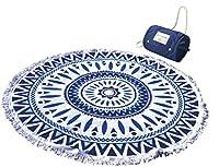丸眞 ラウンドビーチタオル バッグ付き ブルーシャワー 直径約140cm 綿100% 0135012300