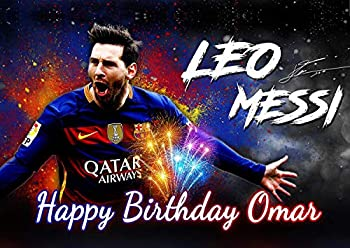 Cakecery Lio Messi FC Barcelona Edible Cake Image Topper Personalized Birthday Cake Banner 1/4 Sheet