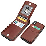 iPhone X iPhone Xs Case Wallet with Credit Card Holder, KIHUWEY Premium Leather Magnetic Clasp Kickstand Heavy Duty Protective Cover for iPhone Xs/X 5.8 Inch(Brown)