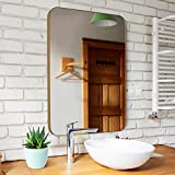 Upland Oaks Medium Bathroom Mirrors for Wall - Modern Rectangular Mirror with Seamless Metal Mirror Frame - Easy to Install, Mounting Hardware Included (Gold, Slim Lip 30'x22')