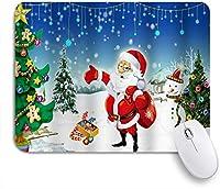 VAMIX マウスパッド 個性的 おしゃれ 柔軟 かわいい ゴム製裏面 ゲーミングマウスパッド PC ノートパソコン オフィス用 デスクマット 滑り止め 耐久性が良い おもしろいパターン (ブルークリスマス冬休み雪に覆われたサンタクロースクリスマスツリー雪だるま季節)