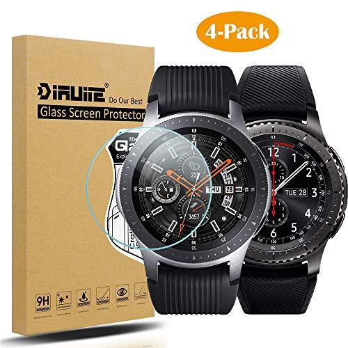 Diruite 4 Stück Panzerglas für Samsung Galaxy Watch 46mm/Gear S3 Schutzfolie,HD Glas Displayschutzfolie für Samsung Galaxy Watch 46mm Intelligente Uhr