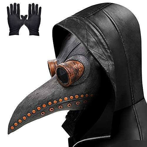 Lifreer - Mscara de doctor de peste de nariz larga para pjaros, steampunk, disfraz de Halloween con un par de guantes