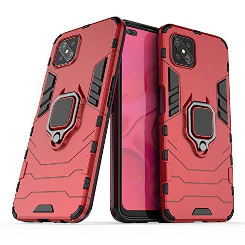 NOKOER Funda para OPPO Reno 4 Z 5G, Sottile 2 en 1 PC + TPU Case, Anti Caída Protección Superior Telefono Funda [Antideslizante] Función de Soporte Cover - Rojo