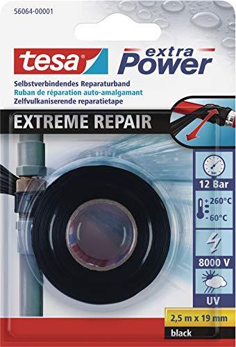 tesa extra Power Extreme Repair Reparaturband - Selbstverschweißendes Reparaturband aus Silikon zum Isolieren und Abdichten - 2,5 m - Schwarz