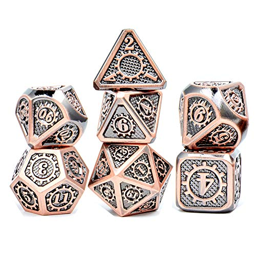 Metal Dice Set D&D 7piece Metal DND Dice with Gear Ancient Copper for Role Playing Game Dungeons and Dragons