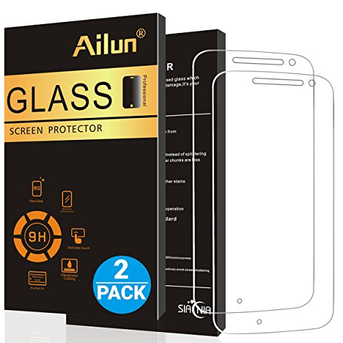Ailun Screen Protector for Moto G4 2Pack 9H Hardness Ultra Clear Anti Scratch Case Friendly Tempered Glass for Moto G4 Only Not for Moto G4 Plus Moto G4 Play Moto Z Play LG G4 Siania Retail Package