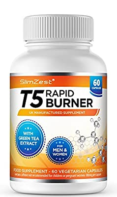 T5 Fat Burners – Rapid Fat Burner for Men & Women – 120 Vegetarian Capsules – UK Manufactured – High Strength High Quality Safe Legal Fat Burner – Slimming Pills From A Trusted UK Brand – Diet Pills That Work Fast - Bust Belly Fat with SlimZest T5 Fat Bur