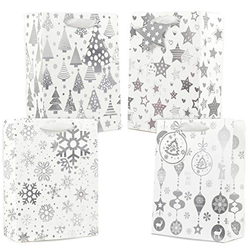 UNIQOOO 12Pcs Silver Metallic Gift Bags Bulk, Assorted Snowflake Xmas Tree Star Ornament w/Tag, Medium 7x3.25x9.25 in, Recyclable for Christmas Thanksgiving Holiday New Year Party