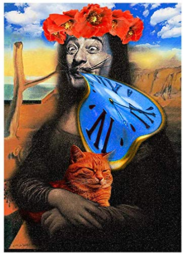 Crazystore Leinwanddruck 60x80cm ohne Rahmen Moderne Kunst Mona Lisa Picasso Uhr Illustration Malerei auf Leinwand inspirierte Kunstdrucke für zu Hause Wohnzimmer Dekor