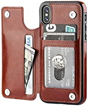 Genuine Brown Leather Card Holder Wallet Flip Folding Case iPhone X/XS Case Cover Genuine Brown Leather Card Holder Wallet Flip Folding Case Compatible with Apple iPhones (iPhone X/XS)
