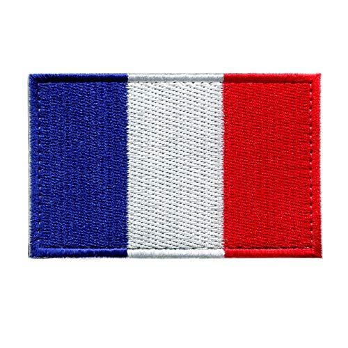 Patch France - 8 x 5 cm - Ecusson Drapeau Militaire Garçons et Filles, Drapeau France, Motif en Crochet et Boucle, Patch Brodé Vetement, Ecusson à Coudre Pays