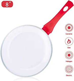 Caannasweis Ceramic Frying Pan, Nonstick Skillet Pan 8 inch, Ceramic Coating Pan Omelette Skillet with Soft Touch Handle (White)
