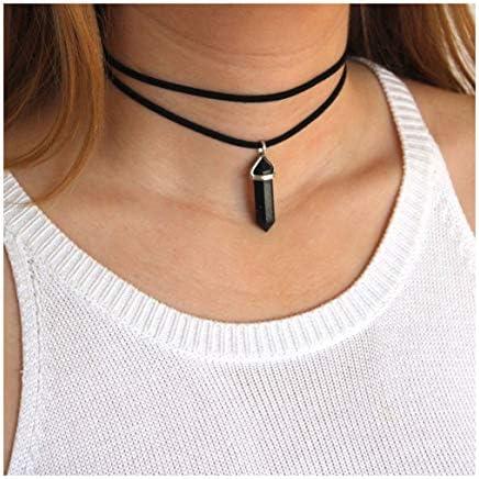 Kercisbeauty Black Wrap Velvet Choker with Black Gemstones Healing Stones Women Girls Everyday product image