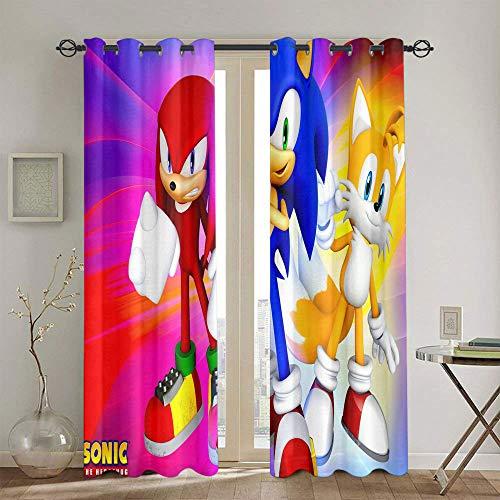 Cortinas de tratamiento Sonic el erizo para dormitorio infantil cortina opaca de ventana de 139,7 x 114,3 cm