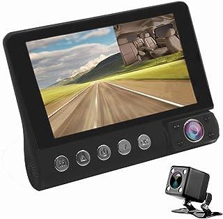 OBEST ドライブレコーダー 4インチ 3カメラ搭載 車内外同時録画 1080PフルHD 170度広角フロントカメラ 防水リアカメラ 角度調整可能 Gセンサー搭載 緊急録画 循環録画 駐車監視 暗視機能 動体検知