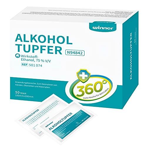 Winner 75 % de alcohol etanol, grande, almohadillas cuadradas de algodón de 4 capas, bien empapadas con alcohol, 50 toallitas de alcohol (15 x 20 cm)