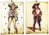 KUSTOM ART Juego de 2 cuadros estilo vintage Pin Up Cowgirl sombrero de colección impresión sobre madera Made in Italy
